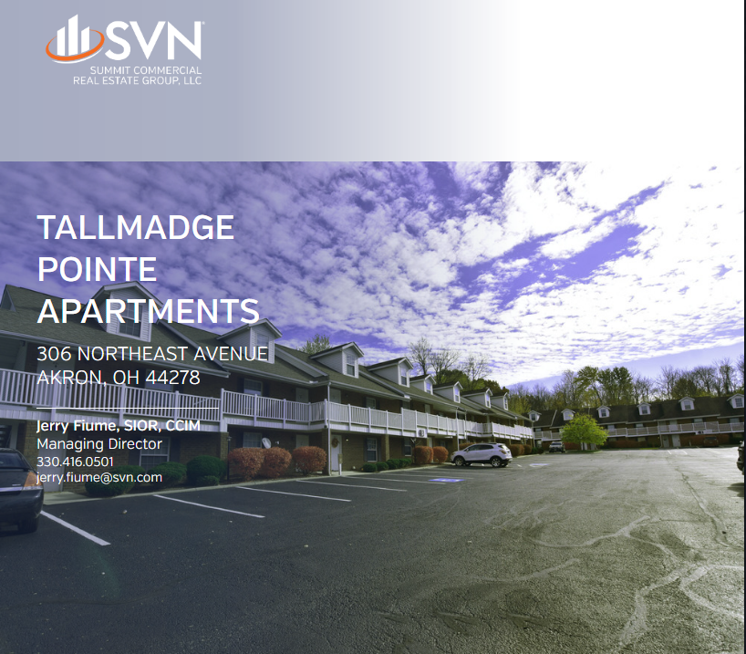 "AKRON, OHIO, September 21, 2018: SVN Summit Commercial Real Estate Group, LLC, one of the nation's premier net lease brokerage firms, has completed the sale of Tallmadge Pointe Apartments, LTD, a 61,240 square foot 60-unit apartment complex located at 306 Northeast Avenue, Tallmadge, Ohio 44278 was purchased in the amount of $3,095,000. Jerry Fiume, SIOR, CCIM of SVN Summit Commercial Real Estate Group, LLC represented the both parties in the transaction.  ""Tallmadge Pointe is a great asset in our marketplace.  The Property has been well maintained and managed over the years.  I am sure the new Owners will benefit greatly from the foundation that Tallmadge Pointe laid."" , said Jerry Fiume, SIOR, CCIM Managing Director, SVN Summit Commercial Real Estate.  Tallmadge Pointe Apartments is located off Tallmadge's Historical Circle nearby shopping, restaurants, parks, walking trails, public transportation and the newly developed Tallmadge Town Centre.  SVN is the only major commercial real estate brand that proactively markets all of its qualified properties to the entire brokerage and investment community. Participating in approximately $11.1 billion in sales and leasing transactions in 2017, SVN Advisors shared commission fees with co-operating brokers in order to close more deals in less time and at the right value for clients. Advisors also reap the benefits of our SVN Live® Weekly Property Broadcast, cloud-based leading-edge technology, and national product councils. This open, transparent and collaborative approach to real estate is the SVN Difference.  About SVN 